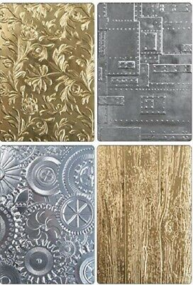 Tim Holtz Sizzix '3D TEXTURE FADES' A6 (Choose from 4) Cogs/Wood/Floral/Plates