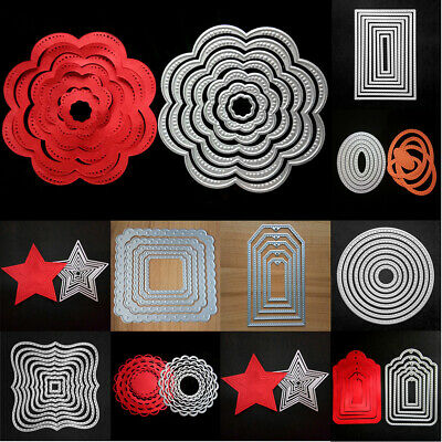 Xmas Cardmaking Decor Cutting Dies Metal Dies Set Stitched Frames Scrapbooking