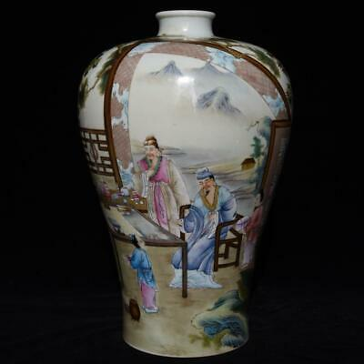 Chinese Exquisite Handmade colorful ancient figure story porcelain vase