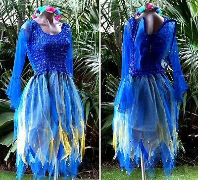 PLUS SIZE Fairy Dress Costume with Sleeves & Wings - MEDIEVAL ROYAL BLUE & GOLD