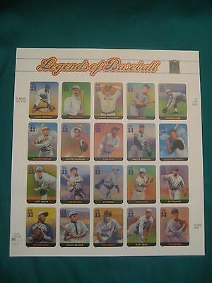 33c Legends of Baseball-MNH Sheet of 20-Scott# 3408-Ruth-Gehrig-Robinson-Cobb