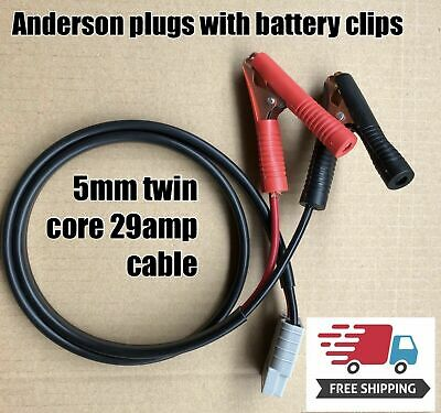 10M twin 5mm auto Cable 29 amp Anderson Plug 50 Amp with 90mm battery clips
