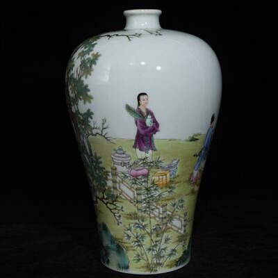 Chinese Exquisite Handmade colorful figure story porcelain vase