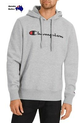 New Mens Champion Script Hooded Sweat Fleece Top Hoodie Oxford/black/navy Ay79N