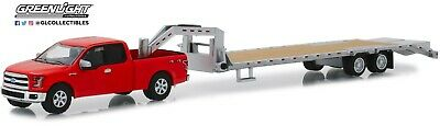 1:64 GreenLight *HITCH & TOW* RED 2017 Ford F150 & GOOSENECK FLATBED TRAILER NIP