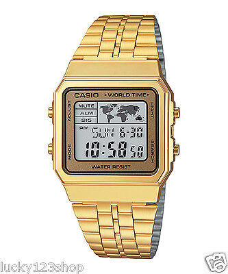 A500WGA-9D Gold Casio Men's Watches Digital Stainless Steel Band Brand-New