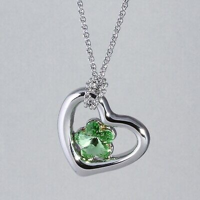 16c8bf96f CRYSTALS FROM SWAROVSKI Necklace Silver Heart & Green Flower ...