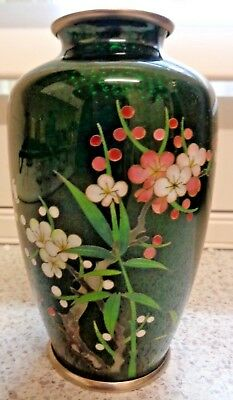 Exquisite Oriental Cloisonne And Enamel Sterling Silver  Vase Blossoms