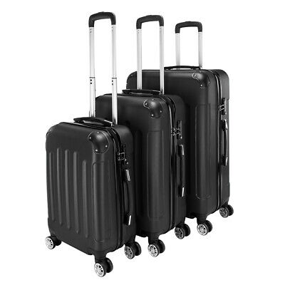 3Pcs Luggage Travel Set Bag PC + ABS Trolley Spinner Suitcase w/TSA Lock Black