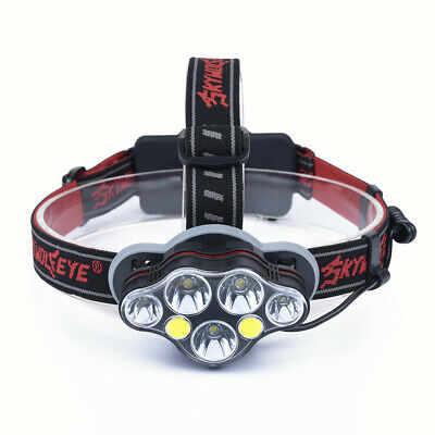 XM-L T6+ COB LED Headlamp White & Red Light Headlight Flashlight Head Torch SOS