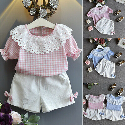 2Pcs Kids Baby Clothes Girls Summer Cotton Tee+Short Pants Kids Outfits Bowknot