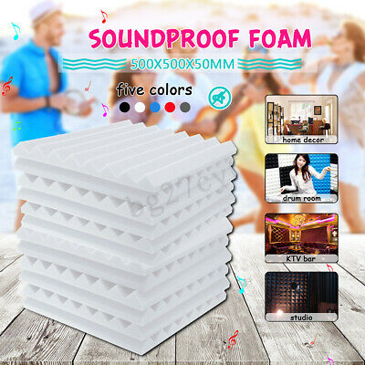 4 20 40 60Pcs 50x50x5CM Ultraflex Wedge Acoustic Foam Tiles Sound Proofing Panel