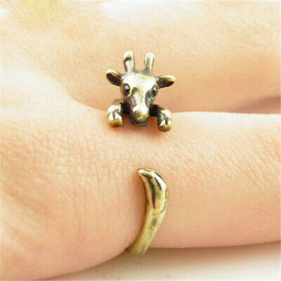Vintage Rings Antique Bronze Silver Giraffe Animal Ring Retro Statement Jewelry