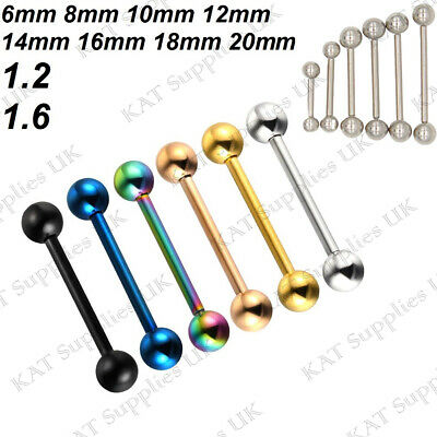 Straight Tongue Bar Bars Surgical Steel Barbell Nipple Tragus Eyebrow Piercing
