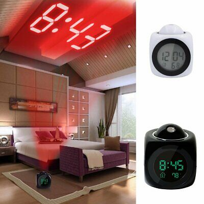 LED Alarm Clock Wall Ceiling Projection Digital Voice Talking Temperature