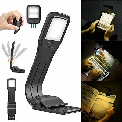 portable USB Rechargeable LED Book Light Flexible Clip On  Light Reading Lamp