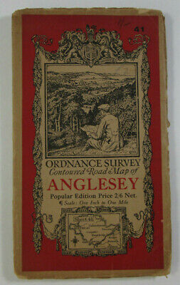 1931 Old Vintage OS Ordnance Survey One-Inch Popular Edition Map 41 Anglesey