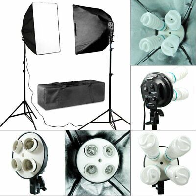2x Photo Studio Video Continuous Lighting Kit Photography Softbox Light Stand OY