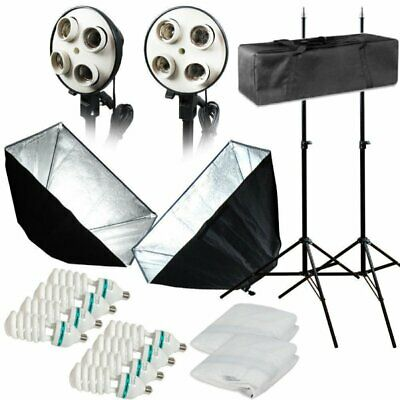 Photo Studio Photography 2 Softbox Light Stand Continuous Lighting Kit 1600W OY