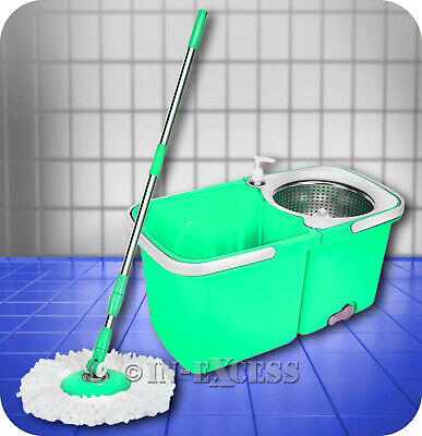 Mrs Beach Compact Cleaning Dual Spin Dry Mop & Bucket - Mint