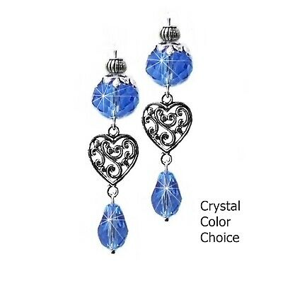 Earrings crystal drop, Silver lace heart, choose color and clip on pierced