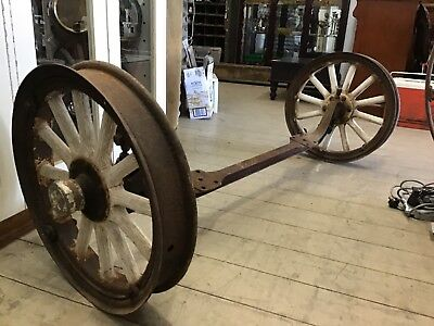 Antique vintage old metal wagon Cart wheels axel 108cm garden bench decor