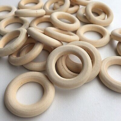 20X Round Unfinished Wood Ring Bead 30mm Donut Shape Donut DIY Craft