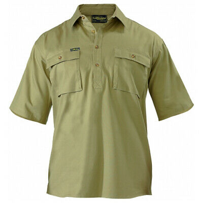 NEW Bisley Shirts  Closed Front Drill Shirt Khaki - in Khaki - 6XL - Safety