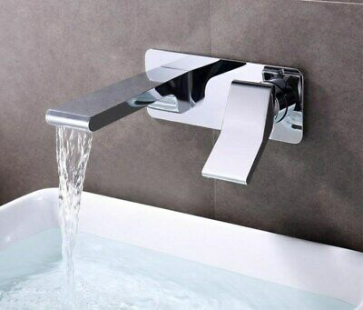 Solid Brass Bathroom Faucet Chrome Polished Basin Mixer Tap Water Mixer Wall In
