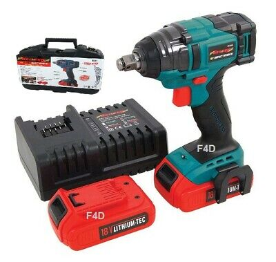 "18V 1/2"" Lithium Li-Ion Brushless Cordless Impact Wrench  & 2 Batteries In Case"
