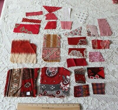 Lot Of 24 Antique c1850-1890 Cotton Turkey Red Bandana Cotton Fabric Samples