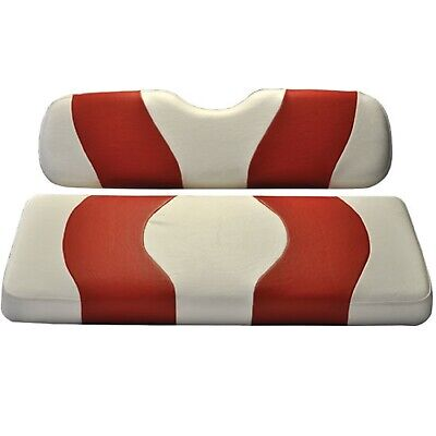 Madjax Wave White/Red Two-Tone Seat Covers | Club Car Precedent Golf Cart