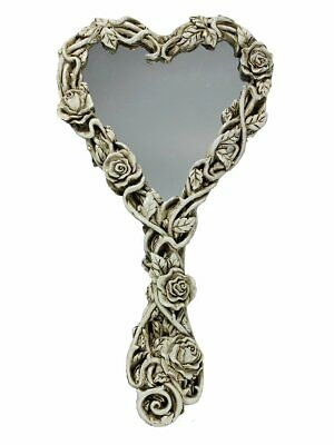 Collectible Fate of Narcissus Hand Mirror - Gothic Skull Roses Make up Mirror