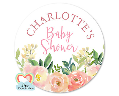 ready to pop sticker baby shower pink 40mm personalised party bag round floral