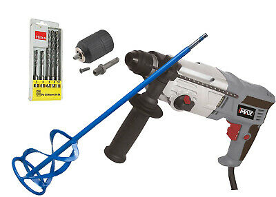 HILKA 850w Rotary Hammer Drill+120X600mm Mixing Paddle+5pc SDS+Keyless SDS Chuck