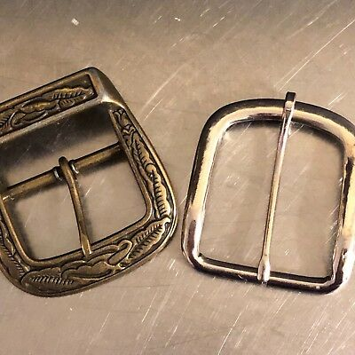 Vintage Belt Buckles Set 2 Embossed Leaf Design Brass Plain Chrome Unmarked