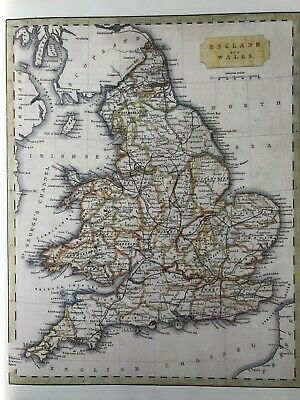 Old Antique Map Of England And Wales Vintage Colour Map C1830 Re-Print