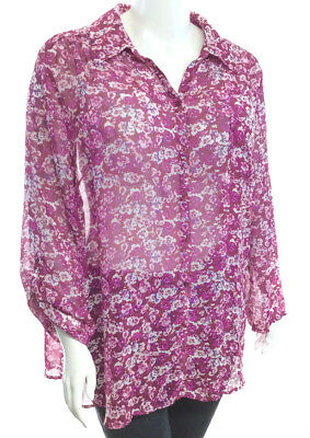 08ee6703242bd NEW! AVENUE BLUE Floral Chiffon 3 4 Sleeve Blouse w  Built-in Tank ...