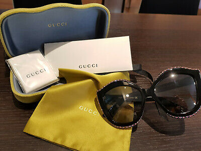 26c70372bd1 AUTHENTIC NEW GUCCI Sunglasses GG118S Crystals Black Bling Gray Lens ...