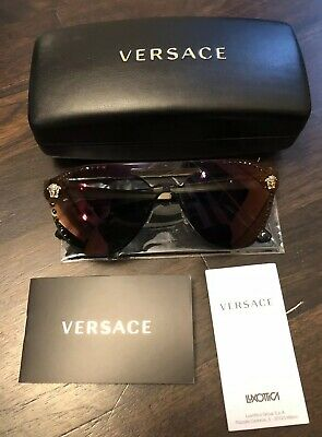 58d0096e075 Authentic VERSACE Glam Medusa Mirror Shield Sunglasses VE 2161 B 1252 W6  140 3N
