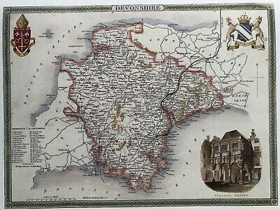 Devonshire Exeter Antique Colour Map by T.Moule County Maps of Old England C1830