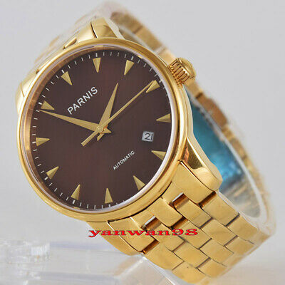 c4cb86ae1 38mm Parnis coffee dial gold plated sapphire glass 5ATM Miyota  automaticwatch 1