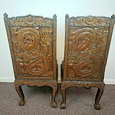 Pair of Chinese Hand Carved Wooden Dining Chairs with Serpent and Foo Dogs Motif