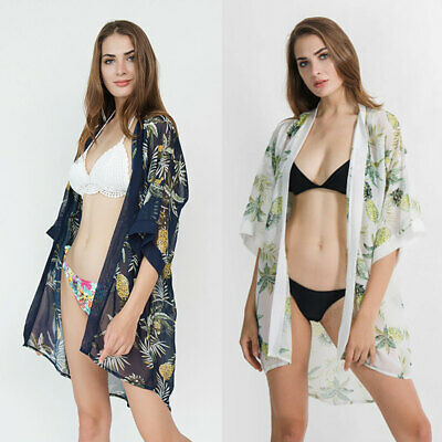 97e15b896c5fb Womens Summer Country Style Swimsuit Cover Up Boho Colored Pineapple  Cardigan
