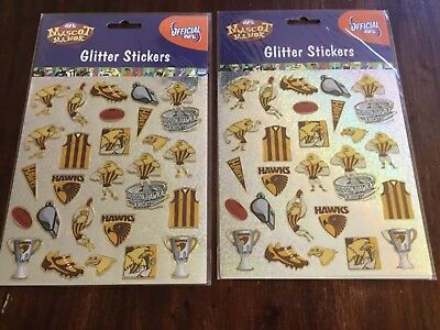 AFL Hawthorn Hawks  FOOTBALL  STICKERS GLITTER MASCOT STICKER PACK x 2