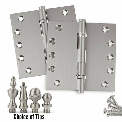 Door Hinges 5 x 5 Solid Brass Ball Bearing Satin Nickel With Tips Set of 2
