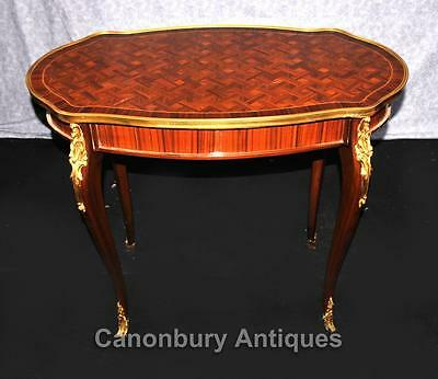 Large French Empire Side Table Parquetry Inlay