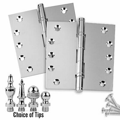 Door Hinges 5 x 5 Solid Brass Ball Bearing Polished Chrome With Tips - Set of 2