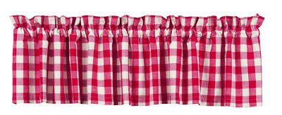 country rustic farmhouse cabin kitchen Picnic Red white plaid VALANCE curtain