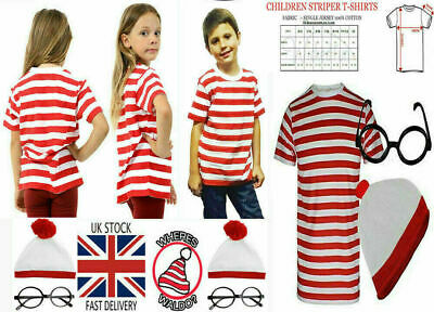 Unisex Kids Wheres Wally Strip T-Shirt Kit Hen Party Costume Book Week Day